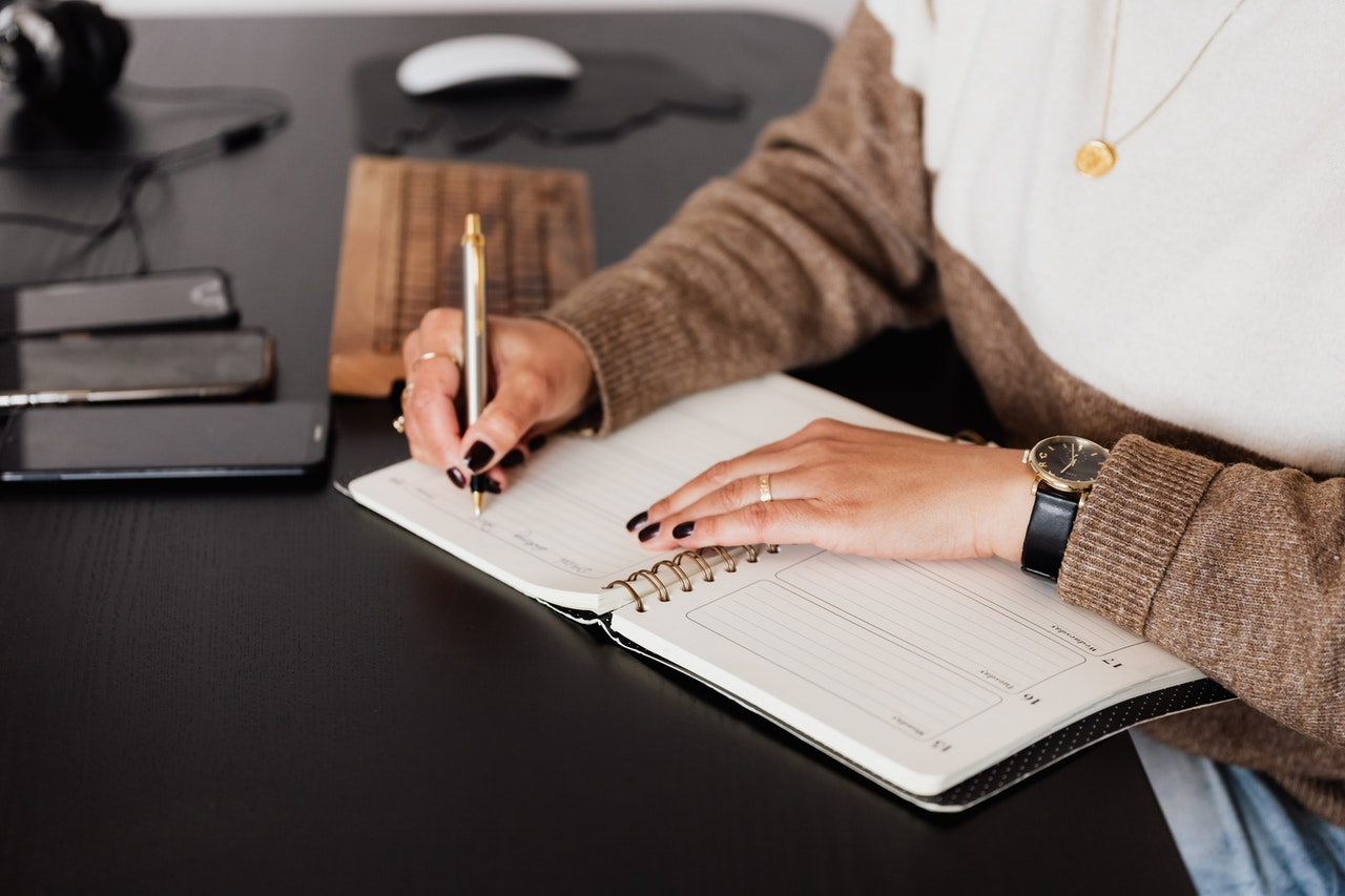 Planning your first business in diary
