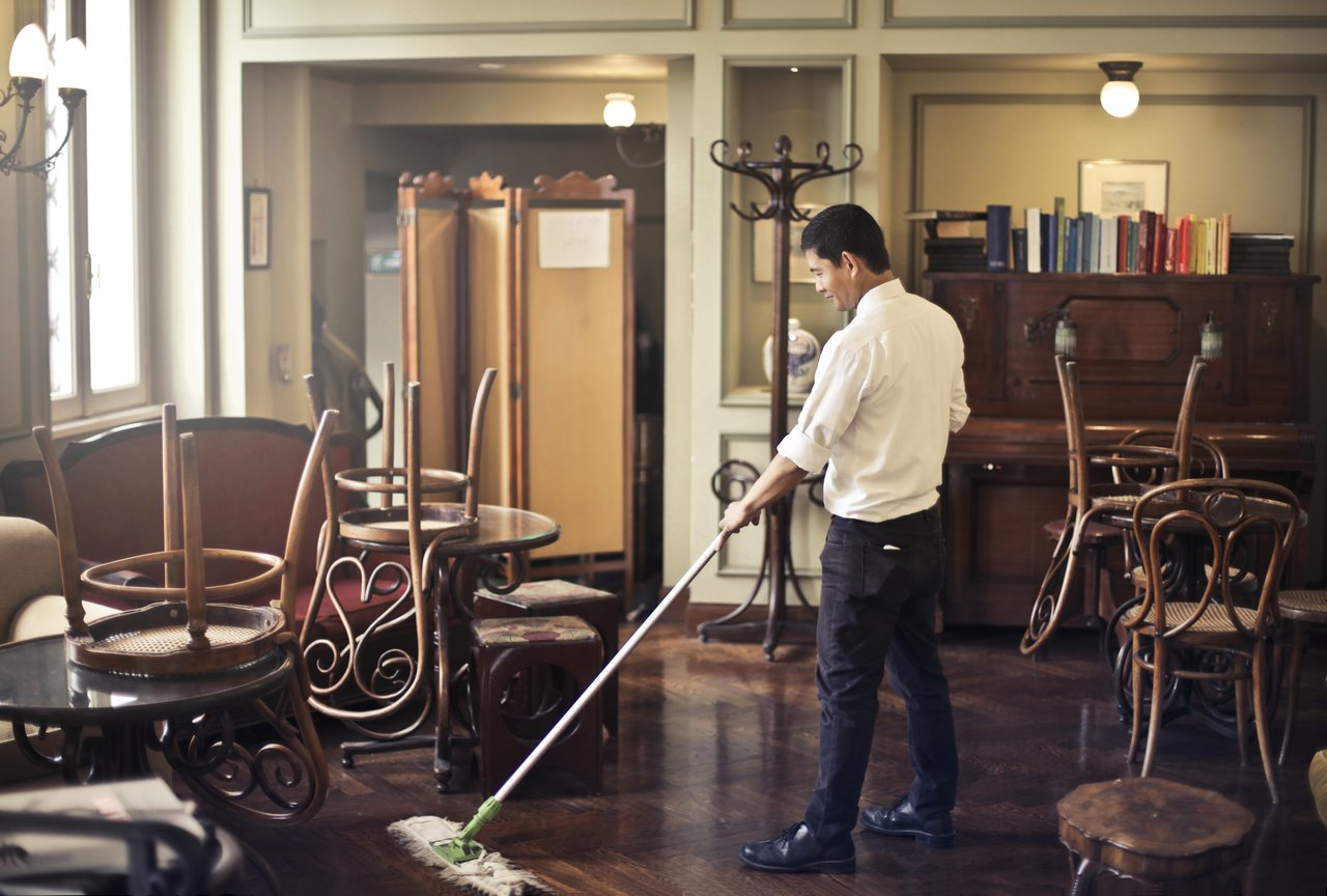 Floor mopping reflecting to maintain the Six Sigma for small business improvements