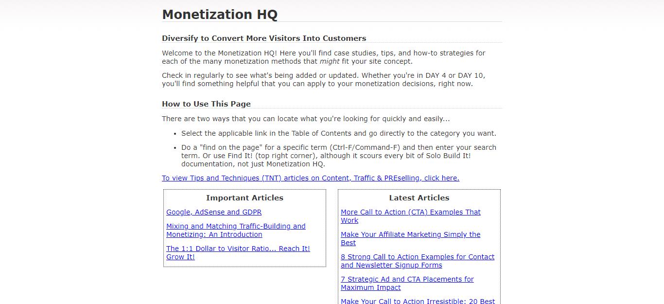Solo Build It Monetization HQ